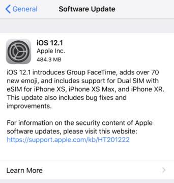 iOS 12.1 正式版发布,附IPSW文件下载地址